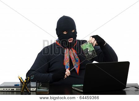 Robber Holding In One Hand A Hard Drive