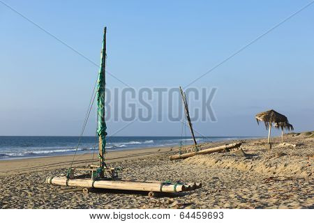 Rafts on Beach in Mancora, Peru
