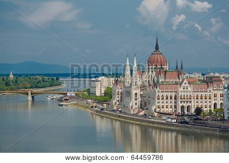 City panorama of Budapest with the Parlament building
