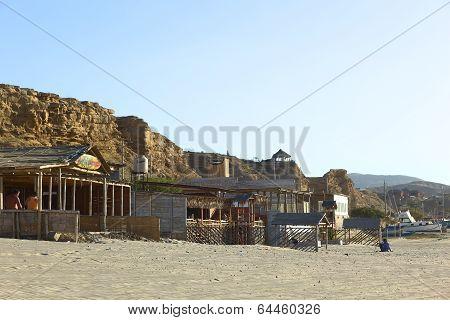 Buildings on Beach in Los Organos, Peru