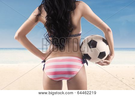 Sexy Soccer Fan Wearing Bikini At Beach