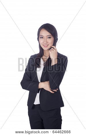 Telemarketing headset woman from call center