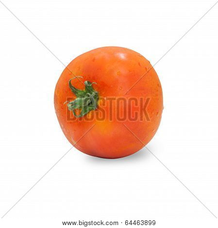 Fresh Tomatoes With Leaf Isolated On White Background