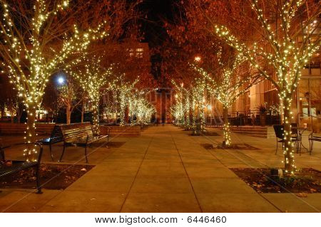 Sidewalk at Christmastime