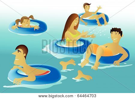 People enjoying a swimming pool