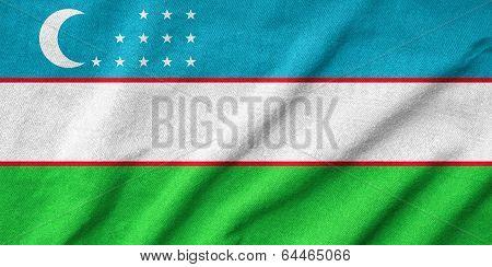 Ruffled Uzbekistan Flag