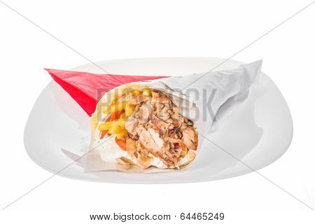 Kebab Tortilla With Grilled Meat And French Fries