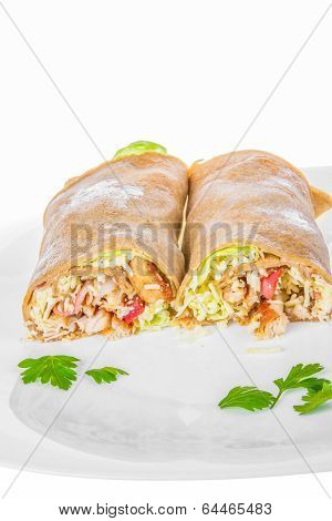 Rolled Pancakes Stuffed With Ham And Cheese