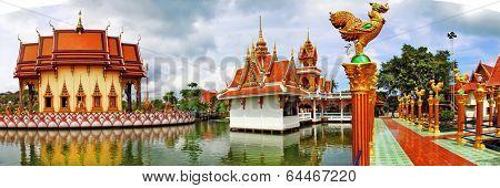 Buddhist pagoda, panorama of Wat Plai Laem on Samui island. Thai