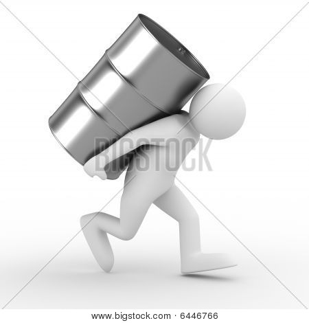 Men Carry Vat On Back. Isolated 3D Image
