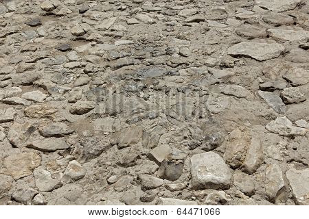 Texture of ancient stone road