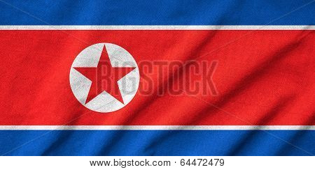 Ruffled North Korea Flag