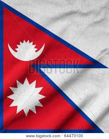 Ruffled Nepal Flag