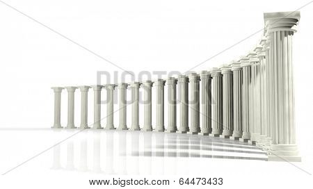 Ancient marble pillars in elliptical arrangement isolated on white