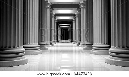 White marble pillars in a row inside a building