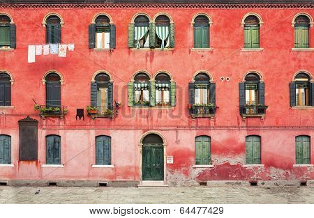Duplex colored house on the island of Murano near Venice in Italy.