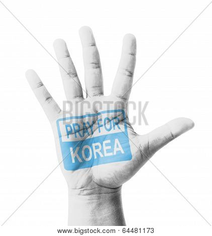 Open Hand Raised, Pray For Korea Sign Painted, Multi Purpose Concept - Isolated On White Background