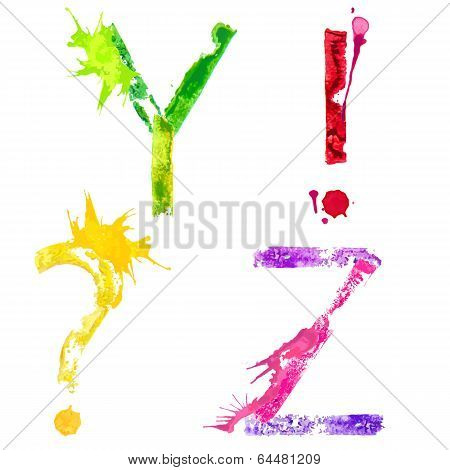 Vector paint splash font Y,Z and punctuation marks