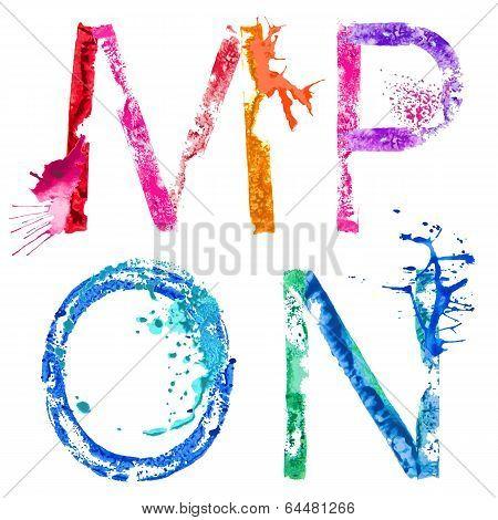 Vector paint splash font M,N,O,P