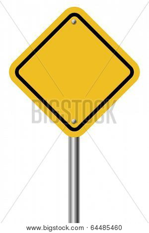 Blank diamond shaped warning yellow sign isolated on white background.
