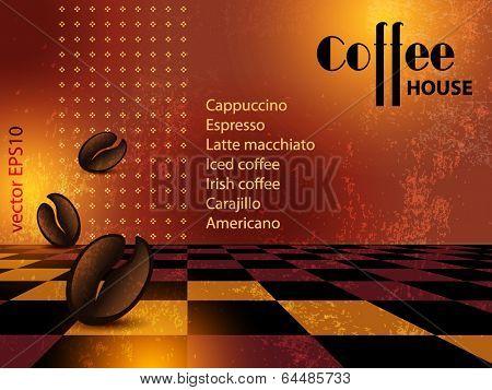Grunge coffee shop menu background