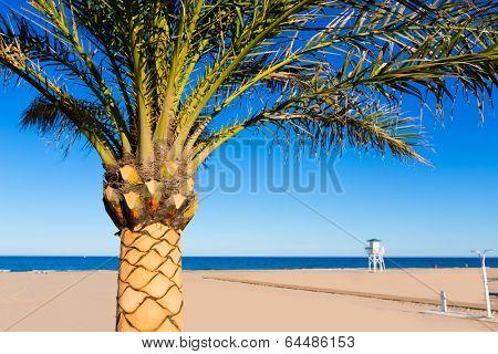 Gandia playa beach in Valencia at Mediterranean Spain