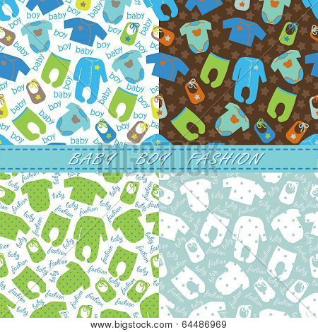 Clothes For Newborn Baby Boy Seamless Pattern Set