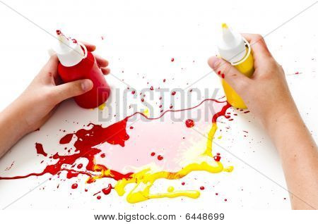 Childrens Hands And Paint