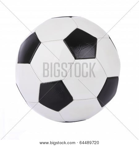 Stitch leather soccer ball on white background.