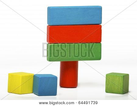 Toy Sign Board Isolated On White Background, Multicolor Wooden Information Message Blocks