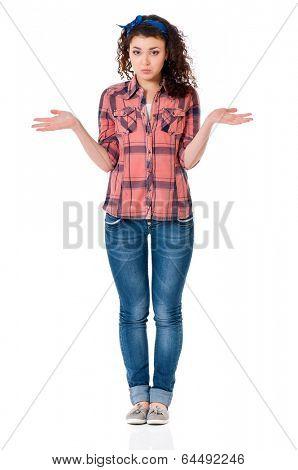 Portrait of emotionally girl isolated on white background