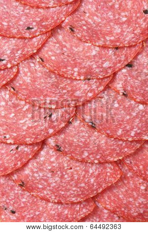 detail of formed slices of spiced salami