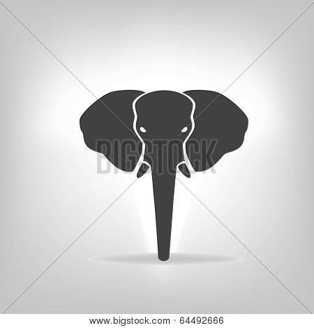 Gray Emblem Of An Elephant On A Light Background