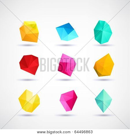 Polygon symbol icons Set - Isolated On White Background - Vector Illustration, Graphic Design Editable For Your Design.