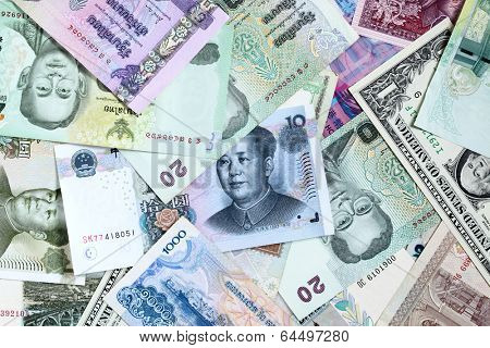 Money background - Various banknotes close-up