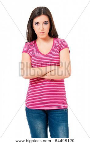 Portrait of angry young woman, isolated on white background