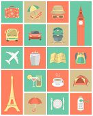 picture of bon voyage  - Set of modern flat square traveling icons - JPG