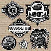 pic of gasoline station  - set of vector labels on the topic gasoline - JPG