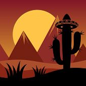 picture of spiky plants  - Cactus plant silhouette and mountains on sunset background - JPG