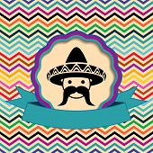 stock photo of mexican fiesta  - Mexican in sombrero label on ethnic zigzag background - JPG