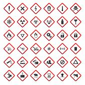 stock photo of chemical weapon  - Warning and danger signs collection isolated on white background - JPG