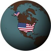 pic of united states map  - usa flag on map of earth globe - JPG