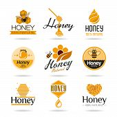 foto of beehives  - Honey and a set of icons that can be used in all kinds of work - JPG