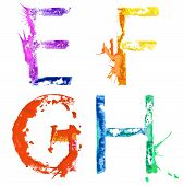 stock photo of g-spot  - Colorful paint splash alphabet letters E - JPG