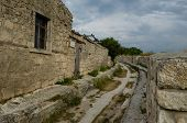 stock photo of manor  - Manor Chal-Boria XVIII century in medieval fortress town Chufut-Kale Bakhchisaray, Crimea, Russia. ** Note: Soft Focus at 100%, best at smaller sizes - JPG
