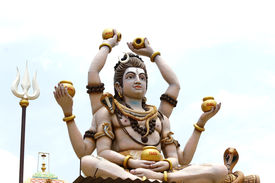 picture of shiva  - Beautiful statue of God Shiva at the entrance of Hindu temple - JPG