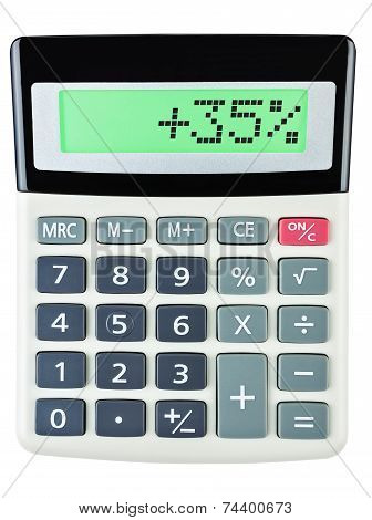 Calculator With 35 On Display On White