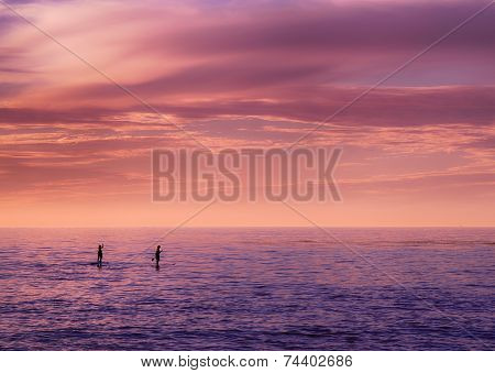 Couple paddle boarding at sunset