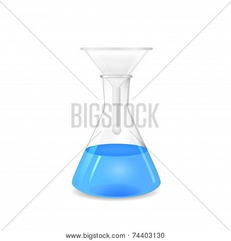 Chemical Funnel Set To A Conical Flask