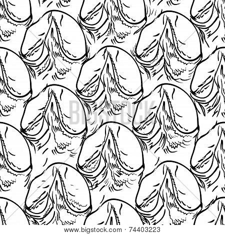 Pineapple Peel Seamless Background. Sketch. Black Contour On A White Background.